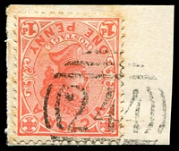 Lot 10562:244: type 2B on 1d pink.  Allocated to Back Creek-PO 24/3/1859; renamed Talbot PO 14/2/1862; LPO 10/6/1994.