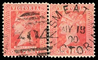 Lot 2509:304: unframed duplex 'SMEATON/MY18/00/VICTORIA - 304' on 1d pink pair.  Allocated to Smeaton-PO 21/6/1860; closed 29/10/1993.