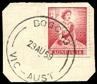 Lot 12392:Bogong: - WWW #20A, 'BOGONG/29AU59/VIC-AUST' on 4d red QEII. [Rated R]  PO 26/2/1940; closed 5/3/1993.