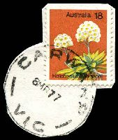 Lot 2313:Carwarp: - WWW #10B, 'CARWARP/8MR77/VIC' on 18c Flower (cut-to-shape). [Rated R]  RO 17/11/1913; PO 1/7/1917; closed 31/1/1992.