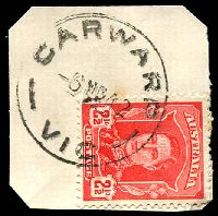 Lot 2312:Carwarp: - WWW #10A, 'CARWARP/6MR42/VIC' on 2½d red KGVI.  RO 17/11/1913; PO 1/7/1917; closed 31/1/1992.