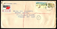 Lot 2935 [1 of 2]:Sale: - WWW #530B 'M.O.O. SALE/12FE87/VIC·AUST' on 75c Lizard (faulty) & $5 Mentone on long cover, addressed to British High Commission, Security Post label attached.  Renamed from Flooding Creek PO 1/1/1854.