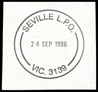 Lot 2942:Seville: - WWW #40 'SEVILLE L.P.O./24SEP1996/VIC. 3139'.  Renamed from Wandin North PO 1/6/1886; LPO 2/5/1995.