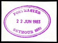 Lot 17277:Seymour (2): - WWW #284, magenta double-oval 'POSTMASTER/22JUN1983/SEYMOUR 3660'. [The first offered by us.]  Renamed from Seymour East PO 15/3/1911.