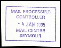 Lot 16418:Seymour Mail Centre: - WWW #305, violet rectangle 'MAIL PROCESSING/CONTROLLER/4JAN1995/MAIL CENTRE/SEYMOUR'. [Only recorded date.]  MC 13/11/1977.