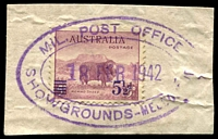 Lot 2884:Showgrounds, Melbourne R.A.A.F. P.O.: - WWW #20 double-oval 'MIL. POST OFFICE/18FEB1942/SHOWGROUNDS - MELBOURNE' in violet on 5½d Merino overprint.  Renamed from Showgrounds, Melbourne Mil. P.O. PO 2/4/1940; renamed Ascot Vale R.A.A.F. P.O. PO 14/4/1942.