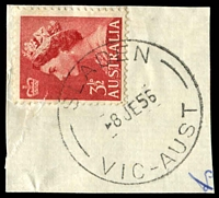 Lot 16466:Sladen: - WWW #10A, 'SLADEN/8JE56/VIC-AUST' on 3½d red QEII.  PO 18/10/1954; LPO 12/3/1993.