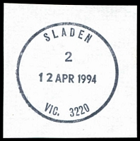 Lot 16467:Sladen: - WWW #40 'SLADEN/2/12APR1994/VIC. 3220' (ERD). [Recorded use 12 months.]  PO 18/10/1954; LPO 12/3/1993.