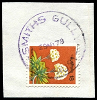 Lot 2955:Smiths Gully: - WWW #10 violet 'SMITHS GULLY/29MY78/VIC-AUST' on 18c Flower on piece.  Renamed from Smith Gully PO c.-/11/1964; LPO 30/6/1993.