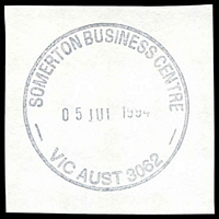 Lot 2957:Somerton Business Centre: - WWW #10 black 'SOMERTON BUSINESS CENTRE/05JUL1994/VIC AUST 3062' (ERD) on piece.  BC 30/6/1994.