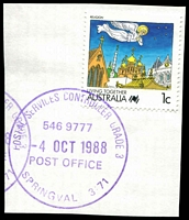 Lot 17430:Springvale (3): - WWW #630 violet 37mm 'POSTAL SERVICES CONTROLLER GRADE 3/546 9777/4OCT1988/POST OFFICE/SPRINGVALE 3171' on 1c Living Together on piece. [Only recorded date.]  Renamed from Springvale R.S. PO 20/10/1902.