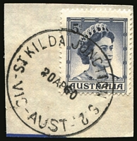 Lot 2901:St. Kilda Junction: - WWW #20A 'ST KILDA JUNCTION S.2./20AP60/VIC-AUST' on 5d blue QEII.  PO 1/9/1936; closed 30/11/1993.