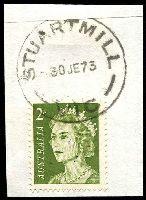 Lot 2721:Stuartmill: - WWW #20B 'STUARTMILL/30JE73/VIC' on 2c green QEII.  PO 1/4/1863; closed 30/1/1976.