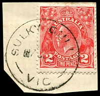 Lot 2723:Sulky Gully: WWW #20 'SULKY GULLY/7??3?/VIC' on 2d red KGV.  PO 5/10/1859; closed 1/7/1966.