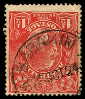 Lot 3418:Babakin: 'BABAKINE/2?OCT24/WE[STNAUSTRALIA]' on 1½d red KGV.  Renamed from Babakine PO c.1924.