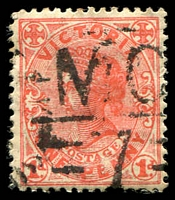 Lot 2129:1107: 'MC/7' on 1d pink. [Rated R]  Allocated to Scott's Creek-PO 13/1/1879; LPO 2/5/1994; closed 31/7/2000.