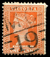 Lot 2131:1119: 'MC/19' on 1d brown.  Allocated to Koondrook-PO 1/3/1879; LPO 22/10/1993.