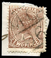 Lot 11040:1196: 'MC/96' Type 11A on 2d brown.  Allocated to Tungamah-PO 15/10/1880; LPO 1/11/1993.