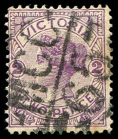 Lot 2364:1265: 'MCC/65' on 2d violet. [Rated S]  Allocated to Drouin North-PO 1/2/1882; renamed Buln Buln East PO 3/4/1893; closed 6/1/1962.