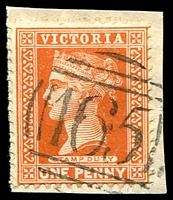 Lot 10498:165: on 1d brown.  Allocated to Tootgarook-PO 18/1/1858; renamed Rye PO 1/9/1870.