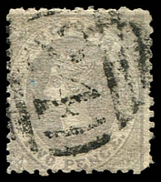 Lot 1949:24: '24' on 2d grey Laureate. [Rated S]  Allocated to Bulla-Renamed from Bulla Bulla PO 1/1/1854; LPO 21/2/1994.