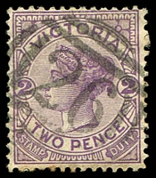 Lot 2243:26: Type A2 on 2d violet.  Allocated to Camperdown-Renamed from Timboon PO 1/1/1854.