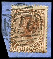 Lot 10588:275: Type 2B on 2d brown.  Allocated to Five Mile Creek-Renamed from Lancefield PO 19/1/1860; renamed Romsey PO 9/3/1860; LPO 1/9/1993.