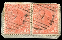 Lot 10699:494: 2 partly overlapping strikes on 1d pink pair. [Rated S]  Allocated to Trawalla-PO 3/12/1864; closed 13/7/1974.