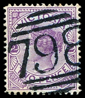 Lot 2338:798: '798' in blue on 2d violet.  Allocated to Brandy Creek-PO 1/4/1873; renamed Buln Buln PO 19/11/1874; closed 30/11/1973.