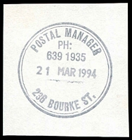Lot 13050:236 Bourke Street: - WWW #310 double-circle 'POSTAL MANAGER/PH:/639 1935/21MAR1994/236 BOURKE ST.' (ERD).  Replaced Russell Street PO c.-/11/1992; replaced by Little Bourke Street PO 8/8/1994.