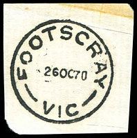 Lot 2492:Footscray (1): - WWW #130B 'FOOTSCRAY/26OC70/VIC' (arcs 6,6) on piece. [Rated 2R]  PO 12/10/1857; renamed Footscray Delivery Centre DC 15/11/1993.