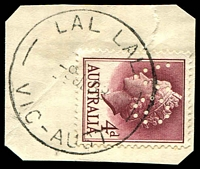 Lot 2793:Lal Lal (1): - WWW #30A 'LAL LAL/9JL58/VIC-AUST' on 4d lake QEII perf 'VG'.  PO 18/7/1863; closed 11/3/1969.