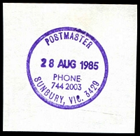 Lot 15340:Sunbury: - WWW #620 27mm 'POSTMASTER/28AUG1985/PHONE/744 2003/SUNBURY, VIC. 3429' (ERD) in violet.  PO 13/1/1858.