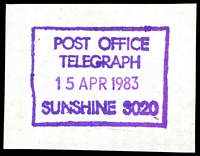 Lot 2972:Sunshine (2): - WWW #910 37x27½mm violet rectangle 'POST OFFICE/TELEGRAPH/15APR1983/SUNSHINE 3020' [Only recorded date.]  Renamed from Sunshine South PO c.1910.