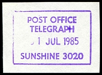 Lot 2730:Sunshine (2): WWW #920 37x25mm 'POST OFFICE/TELEGRAPH/31JUL1985/SUNSHINE 3020' (ERD) in violet.  Renamed from Sunshine South PO c.1910.