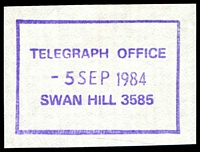 Lot 2733:Swan Hill: WWW #1120 41x28mm violet rectangle 'TELEGRAPH OFFICE/5SEP1984/SWAN HILL 3585' (ERD).  PO 1/2/1849.