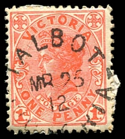 Lot 16822:Talbot: - WWW #30 23mm unframed 'TALBOT/MR25/12/VICTORIA' on 1d pink.  Renamed from Back Creek PO 14/2/1862; LPO 10/6/1994.