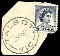 Lot 16823:Talbot: - WWW #40B 'TALBOT/2MY60/VIC' (arcs 7,7 - time removed and date centred) on 5d blue QEII.  Renamed from Back Creek PO 14/2/1862; LPO 10/6/1994.