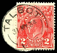 Lot 16824:Talbot: - WWW #50A 27½mm 'TALBOT/31MY34/VIC' on 2d red KGV (cut-to-shape).  Renamed from Back Creek PO 14/2/1862; LPO 10/6/1994.