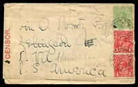 Lot 16833:Tallangatta (1): - WWW #70 2 strikes of 25mm 'TALLANGATTA/22AU16/VIC' (arcs 6,6) on ½d green & 1d red KGV x2 on censored cover to USA, small tear at side through 1d red x1.  PO 15/5/1871; renamed Tallangatta East PO 14/4/1955.