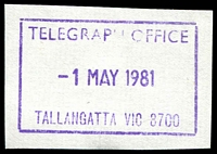 Lot 2746:Tallangatta (2): WWW #410 41x26mm violet rectangle 'TELEGRAPH OFFICE/1MAY1981/TALLANGATTA VIC 3700' (ERD).  PO 14/4/1955; LPO 1/2/1995.