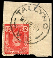Lot 16843:Tally Ho: - WWW #20A 'TALLYHO/■7FE48/VIC' (error - one word) on 2½d red KGVI.  PO 1/12/1882; LPO 10/8/1993; replaced by Burwood East LP 7/11/1997.