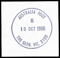 Lot 16926:The Glen: - WWW #70 'AUSTRALIA POST/5/10OCT1996/THE GLEN. VIC. 3150'.  Replaced Glen Waverley PO c.-/1/1994.