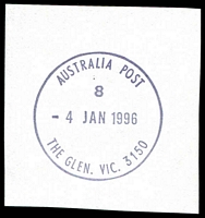 Lot 16927:The Glen: - WWW #100 'AUSTRALIA POST/8/4JAN1996/THE GLEN. VIC. 3150'.  Replaced Glen Waverley PO c.-/1/1994.