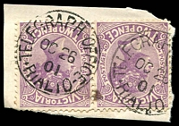Lot 3054:The Rialto: - WWW #310 2 strikes of 'TELEGRAPH OFFICE/OC26/01/RIALTO' on 2d violet pair.  RH 24/10/1891; RO c.1901; renamed Rialto PO c.1902.
