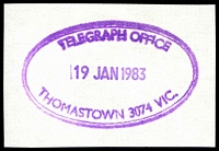 Lot 2774:Thomastown: WWW #910 violet double-oval 'TELEGRAPH OFFICE/19JAN1983/THOMASTOWN 3074 VIC.' (ERD).  PO 9/6/1862.