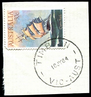 Lot 16954:Timboon (3): - WWW #20E 'TIMBOON/10JY84/VIC' (date corrected) on 30c Cutty Sark.  PO 7/3/1887; LPO 3/9/1996.