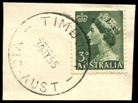 Lot 16955:Timboon (3): - WWW #30A 'TIMBOON/30JY55/VIC-AUST' on 3d green QEII.  PO 7/3/1887; LPO 3/9/1996.