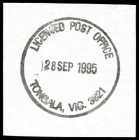 Lot 16960:Tongala (3): - WWW #80 34mm 'LICENSED POST OFFICE/28SEP1995/TONGALA, VIC. 3621'.  Renamed from Tongala R.S. PO 14/12/1908; LPO 31/3/1994.