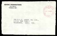 Lot 16963:Tongala (3): - WWW #420B 'TONGALA/PAID/3P-29NO84/VIC-AUST-3621' in red, on Bovine Inseminations, Tongala cover front.  Renamed from Tongala R.S. PO 14/12/1908; LPO 31/3/1994.